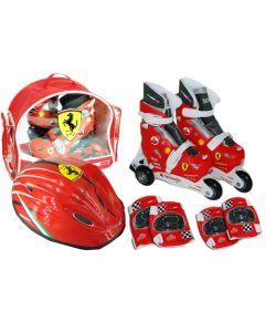 Role copii Saica reglabile, 28-31, Ferrari, cu protectii si casca, in ghiozdan