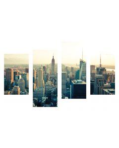Tablou canvas 4 piese - Viata in New York - 4Decor