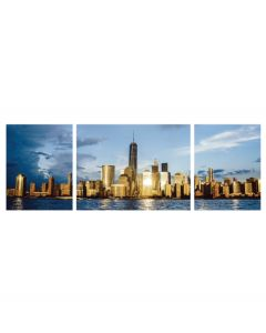 Tablou canvas 3 piese - New York - Apus auriu - 4Decor