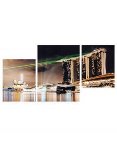 Tablou canvas 3 piese - Viata de noapte in Singapore - 4Decor