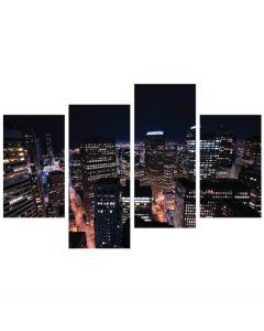 Tablou canvas 4 piese - Viata de noapte - 4Decor