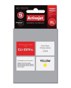 Cartus compatibil CLI-551Y yellow pentru Canon, 15 ml, Premium Activejet, Garantie 5 ani